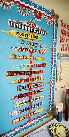 Carnival Literary Genres Mini Bulletin Board - Teach students about different literary genres with this whimsical carnival-themed mini bulletin board. Includes 1 title piece 12 genre signs and 4 pole pieces. Over 4 feet tall when fully assembled! Carnival Bulletin Boards, Genre Bulletin Boards, Circus Theme Classroom, Bulletin Board Design, Classroom Decor Themes, Classroom Door, School Library Displays, Library Themes, Classroom Displays