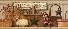 Make your guests feel right at home with this wall border. The Welcome Friends border is pre-pasted, washable and strippable vinyl that features assorted baskets, sheep, towels and pips accented by country stars. Border is 9 inches high. 5 yards per roll. Primitive Kitchen, Primitive Folk Art, Country Primitive, Primitive Labels, Primitive Sheep, Primitive Bathrooms, Prepasted Wallpaper, Of Wallpaper, Wallpaper Borders