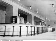 Union Station Lunch Counter with opal tear drop lights - Toronto, Ontario Union Station, Train Station, Toronto Photos, Drop Lights, York Street, Gas And Electric, Landscape Photos, Back In The Day, Ontario
