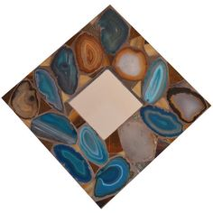 Handmade agates and glass mosaic mirror 10 1/4 x 10 by NYMosaicArt, $65.00