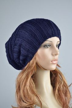 24e03004b78 Hand knit hat woman man winter hat Navy blue Wool Hat slouchy hat- ready to