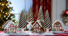 Just adorable - glass swirl trees H208719 with mini gingerbread houses (comes with gift bags) H205282 http://qvc.co/-Shop-ValerieParrHill