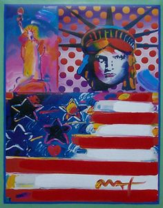 """Works on Paper (not prints) """"God Bless America II and Peace on Earth"""" by Peter Max"""