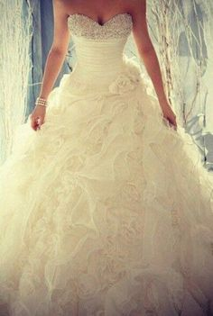 Ball Gown Strapless Beaded Wedding Gown with long train 2015 Wedding Dresses, Wedding Gowns, Poofy Wedding Dress, Tulle Wedding, Wedding Bride, Pretty Dresses, Beautiful Dresses, Gorgeous Dress, Fabulous Dresses