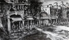 'The Upper Street of Islington' Gerard Byrne, charcoal on canvas, Islington, London, United Kingdom, www.gerardbyrneartist.com