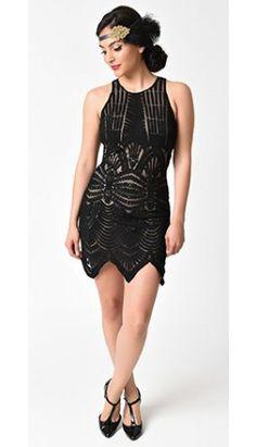 afdbae4af41 Vintage Style Black  amp  Nude Embroidered Mesh Sleeveless Flapper Dress  Vintage Homecoming Dresses