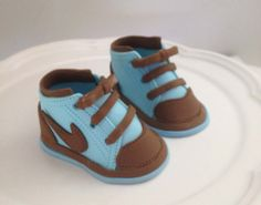 blue/brown Fondant shoes cake toppers by Ninettacakes on Etsy