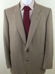 Men's Elegant Corneliani Blazer 43R Brown 100% Wool 2 Gold Buttons Italy #Corneliani #TwoButton