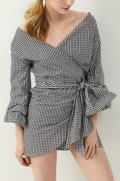 Jennet Wrap Dress Vichy Gingham print by: Storets