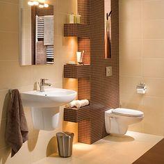 Mała łazienka - jak ją urządzić? #porady #aranżacja #tipy Teak, Toilet, Bathtub, Bathroom, Standing Bath, Washroom, Flush Toilet, Bathtubs, Bath Tube