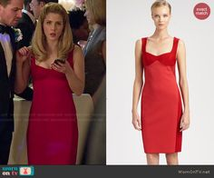 Felicity's red two-tone dress on Arrow.  Outfit Details: http://wornontv.net/47238/ #Arrow