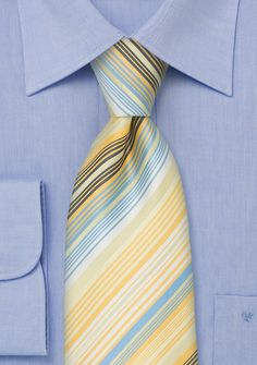 Modern NecktiesLight Yellow and Sky Blue Striped Tie