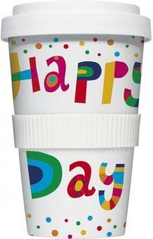 COFFEE-TO-GO Kaffeebecher HAPPY DAY weiß #kaffeebecher #coffeetogo #trinkbecher #kaffeetasse #coffee