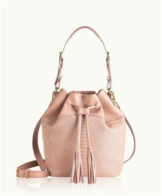 Desert Rose Jenn Bucket Bag   Natural Grain and Embossed Python Leather   GiGi New York