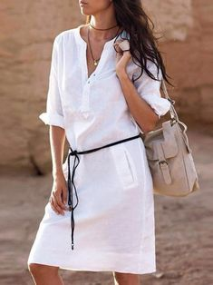 New Women V Neck Pocket Casual Blouse Shirt Cotton Linen Dress Plus Size White S - Herren- und Damenmode - Kleidung Shift Dresses, Midi Dresses, Fashion Dresses, Tunic Dresses, Chiffon Dresses, Women's Fashion, Beach Dresses, Fashion Styles, Fashion Women