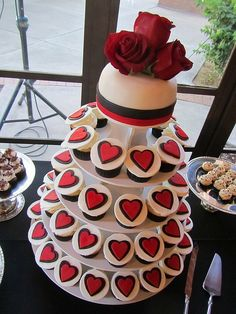 Red and Black Heart Wedding Cupcake Tower