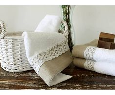 Natural Turkish towel White Hand towel Lace Linen towel by OzHome White Hand Towels, Baby Sheets, Turkish Cotton Towels, Towel Crafts, Decorative Towels, Linen Towels, Burlap Lace, Linens And Lace, Christmas Pillow
