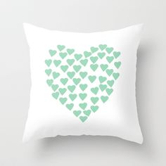 Hearts Heart Mint Throw Pillow by projectm Modern Throw Pillows, Teal Pillows, Green Apartment, Rustic Bedding, Bedroom Green, Unique Home Decor, Girls Bedroom, Master Bedroom, Decor Pillows