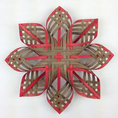 Lg Woodland Woven Star Ornament Cherokee Holy Cross Brown Red