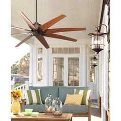 Predator Outdoor Ceiling Fan with Remote Control Large English Bronze Cherry Damp Rated for Patio Porch - Casa Vieja Large Ceiling Fans, Ceiling Fan With Remote, Outdoor Ceiling Fans, Outdoor Fans, Outdoor Spaces, Outdoor Decor, Porch Ceiling, Ceiling Lights, Patio Fan