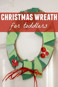 : Toddler Christmas Wreath Making Station (Christmas Kids Activities) Christmas Crafts For Toddlers, Toddler Crafts, Holiday Crafts, Toddler Activities, Toddler Art, Winter Activities, Kids Crafts, Childrens Christmas Crafts, Advent Activities