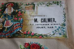 antique trade card for Calmer Dry Goods Joliet Illinois.