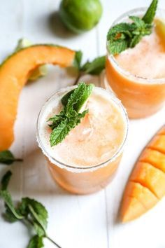 Cantaloupe Margaritas - Country Cleaver Refreshing summer cantaloupe margaritas bring a new twist with fresh Italian cantaloupe, mint, and tequila for a fruity and interesting twist on the standard sugar laden recipes! It is summer in a glass! Refreshing Summer Drinks, Summer Cocktails, Cocktail Drinks, Cocktail Recipes, Drink Recipes, Mexican Cocktails, Healthy Cocktails, Festive Cocktails, Craft Cocktails