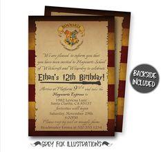 Printable Harry Potter Inspired Birthday Invitation 5x7 Custom