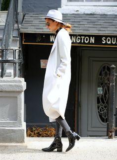 oversized whites and patent leather blacks / #streetstyle / #MIZUstyle