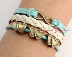 Mint Green, Leather, Infinity, Heart-to-Heart Bracelet