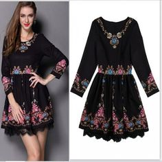 Runway Free Shipping 2015 Women New Arrival Summer Fashion Black Full Sleeves Jewel Buttons Flowers Printed Casual Vintage Dress