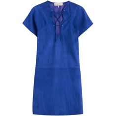 Emilio Pucci Suede Mini-Dress (4.635 RON) ❤ liked on Polyvore featuring dresses, blue, emilio pucci, платья, lace up dress, blue summer dress, short sleeve dress, royal blue short dress and short dresses