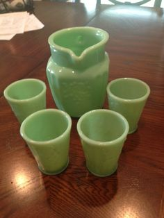 Vintage Jadeite Pitcher and Set of Four (4) Tumbler Juice Cups - Unmarked