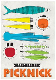 Kirchen art Mid Century poster Cooking print - Scandinavian picknick , size A2