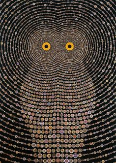 Hypnotic Owl _ Gufo Ipnotico - (Painting of Southern California artist Fred Tomaselli) Owl Mosaic, Mosaic Art, Button Art, Button Crafts, Fred Tomaselli, Owl Always Love You, Photocollage, Nocturne, Art Plastique
