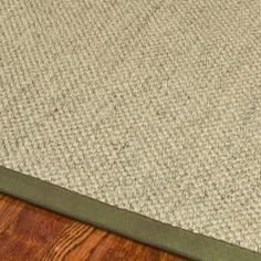 Hand-woven Resorts Natural/ Green Fine Sisal Rug (8' Square) $207 - could work in office too to coordinate the green in chair and the dining room - keeps it simple.
