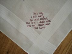 This Day I Marry My Best Friend Wedding Handkerchief by HollySew