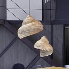 "Modern design rattan pendant light ""Shell"" - Store Without a Home Lampshades, Light, Gold Pendant Lamp, Feather Lamp, Lamp Cord, Rattan, Pendant Light, Rattan Pendant Light, Bamboo Lamp"