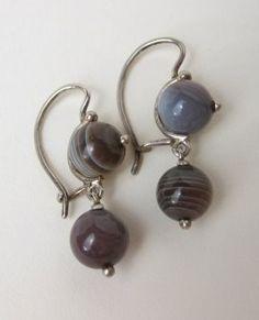 Banded Agate Silver Earrings