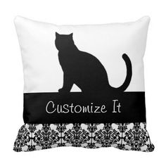 black cat with damask trim throw pillow - so cool, you can add your cat's name to it - love it! #cat #pillow #customize