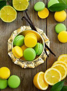 Macarons au citron jaune et vert