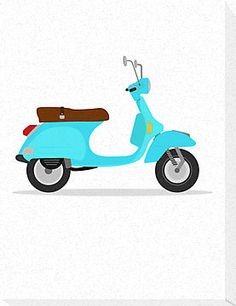 'vintage vespa' Canvas Print by Alejandro Durán Fuentes Vintage Vespa, Vintage Art, Vespa Illustration, Scooter Girl, Instagram Highlight Icons, Art Illustrations, Diy Painting, Caricature, Airplane