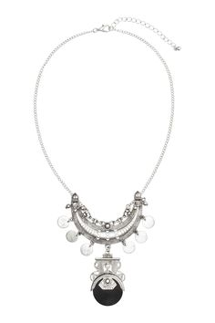 Short necklace: Short necklace of thin, silver-coloured metal chain with a large metal half-moon pendant embellished with round charms, metal beads and a a larger pendant with a round plastic charm. Adjustable length, 41-47 cm.