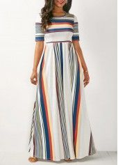 White High Waist Printed Maxi Dress
