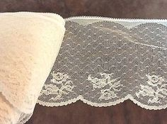 Cream Floral  Lace Trim   4 inches    2 yard