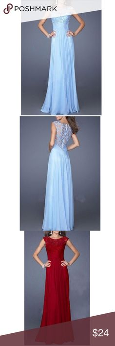 Elegant Evening Gown ✨ Choose baby blue, red, purple, or pink.     (9) Dresses Prom