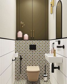 Which of the toilet room fragments do you like . Bad Inspiration, Bathroom Inspiration, Bathroom Interior Design, Bathroom Styling, Restroom Design, Modern Bathroom, Small Bathroom, Modern Toilet, Small Toilet Room