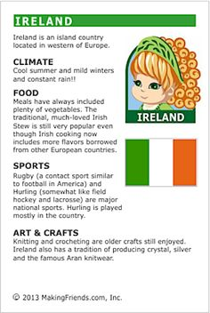 MakingFriends Facts about Ireland Printable Thinking Day fact card for our passports. Perfect if you chose Ireland for your Girl Scout Thinking Day or International Night celebration. St Patricks Day Crafts For Kids, St Patrick's Day Crafts, Ireland Facts, St Patrick Day Activities, World Thinking Day, Irish Culture, World Geography, Teaching Geography, Luck Of The Irish