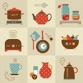 polka pot : Conjunto de vectores de comida para el desayuno y los dispositivos de iconos