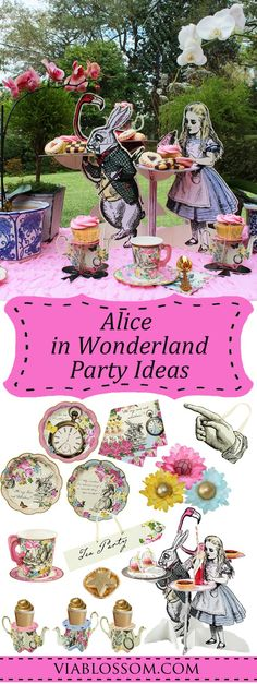 Alice in Wonderland Party Ideas for a magical Mad Hatter Tea Party!  All the Alice in Wonderland party decorations for a girl birthday party!